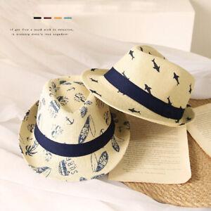 Summer Retro Kids Jazz Hat Boys Whale Fedora Trilby Straw Cap Panama Beach Hats