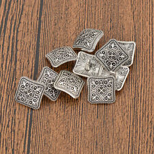 10 Pcs Vintage Square Shank Buttons Flowers Carved Silver Metal DIY Sewing Craft