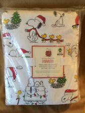pottery barn kids Peanuts organic FLANNEL snoopy holiday duvet TWIN Christmas