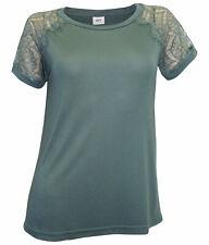 Shirt mit Spitzenärmel JDY Gr. S 36 grün Kurzarmshirt Spitze weich neu