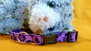 Fabric Cat Collar Handmade, Breakaway Buckle - Wild Purple Cheetah...Snazzy!