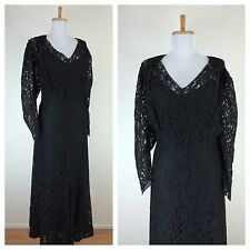 Vintage 1930s Black Lace Cocktail Party Dress Gown XL XXL