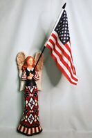 Angel Holding American U.S. Flag - Red White Blue - Decorative Wall Figure