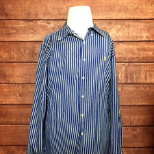 Ralph Lauren Custom Fit Mens Shirt L/S Blue White Black Striped Size XXL