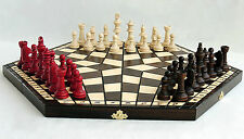 LARGE 54CM THREE PLAYER WOODEN CHESS SET! FAST SHIPPING & BEST PRICES! GIFT IDEA