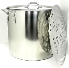 80 Qt Quart 20 Gal Stainless Steel Beer Brewing Stock Pot Kettle Steam Rack Lid