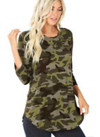 Women's Army Camouflage Print 3/4 Sleeve Round Hem Perfect Fit Quality Top XL-3x