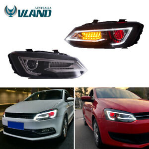 Headlights For Volkswagen POLO 2010-17 Demon Eyes LED Sequential Turn Front Lamp