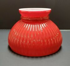 "6"" Red Rib Student Lamp Shade Kerosene Oil Electric Table Lamp New 242J"
