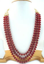 MAROON BEADS KUNDAN GOLD TONE 3 LAYER NECKLACE MALA ETHNIC PARTY WEAR JEWELRY