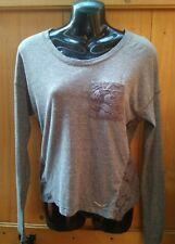 New Superdry Grey Cotton & Polyester Cut thru Pattern Orange Sewn Top Size XS