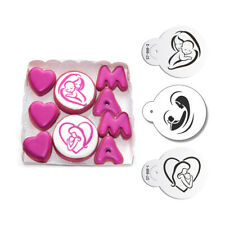 3pc Mom Love Baby Cookie Cake Stencil  Cupcake Stencil for Decorating Tools KQ