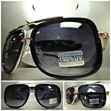 Men's or Women CLASSIC RETRO VINTAGE Style SUN GLASSES SHADES Black & Gold Frame