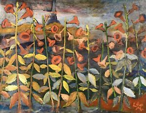 LEO MAILLET (1902-1990) SIGNED GERMAN EXPRESSIONIST 1930's OIL - FLOWERS FIELD