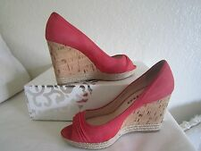 PRADA CORAL  SUEDE OPEN TOE WEDGES SHOES  SZ 38 US 8
