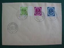 BRD 1951 Posthorn 2, 5 und 30 Pfg vom rechten Seitenrand auf FDC (B095)