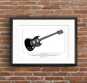 Angus Young's Gibson SG Limited Edition Fine Art Print A3 size