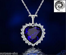 Women Sapphire Blue Titanic Heart of Ocean Pendant &Necklace Crystal Necklace