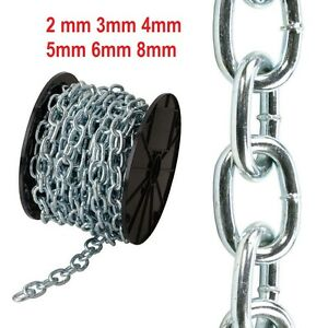 STRONG HEAVY DUTY Steel Chain Zinc Plated Industrial Welded Security Short Links