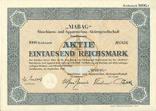 Nordhausen a. Harz MABAG Maschinenbau AG Aktie 1000 RM 1940 Nr. 0406