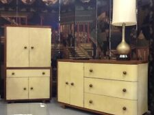 1938 ART DECO WALNUT CABINETS W/PARCHMENT FACINGS - REDUCED FOR QUICK SALE!