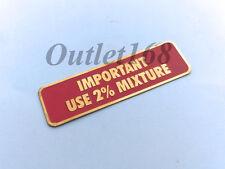 Vespa PX PE Aftermarket Emblem Badge Gas Tank Cap Oil Important Use 2% Mixture