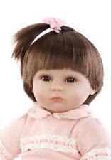 18''/45cm Reborn Baby Doll Soft Silicone Orange Dress Eyes Open Magnet kid gifts