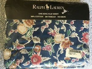 Rare Ralph Lauren Jardin Blue Floral King Flat Sheet NIP French Country