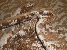New remnant CHENILLE UPHOLSTERY FABRIC woven animal skin design rust brown beige