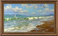 """Hand painted Original Oil Painting art landscape seascape on canvas 24""""x40"""""""