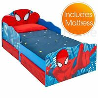 OFFICIAL SPIDERMAN TODDLER BED WITH STORAGE LIGHT UP EYES + DELUXE FOAM MATTRESS