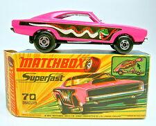 Matchbox SF Nr.70B Dodge Dragster pink rare dunkelgrüne Schlange top in Box