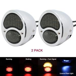 Chrome LED Custom Hot Rat Street Rod Tail Lights w/ Turn Signals Ford Model A