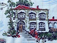 SALE! New Orleans Architecture Barkcloth Vintage Fabric Mid Century 1950's DIY