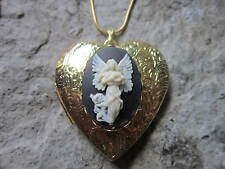 Shaped Locket - Religious - Xmas Flying Guardian Angel Cameo Gold Plated Heart
