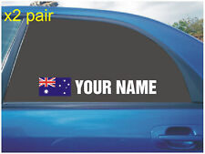 YOUR NAME RALLY RACE CAR WINDOW STICKERS WITH AUSTRALIAN FLAG WHITE X2