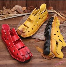 Vintage Womens Handmade Leather Lady Casual Shoes Sandals Flat Heel Creepers Sz