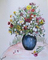 Print Original watercolour art vase of flowers impressionism shabby chic