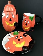 Halloween Jack O' Lantern Plate, Pitcher, and Cookie Jar - 3 Piece Set