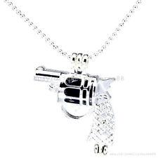L11 Bright Silver Handgun Gun Locket Necklace Pearl Beads Cage Perfume Pendant