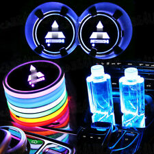 2PCS Colorful LED Car Cup Holder Pad Mat Fit for Mitsubishi Auto Interior Lights