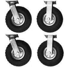 4pcs 10 Air Tire Pneumatic 2 Swivel Caster 2 Rigid Wheels Cart Industrial