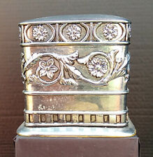Tissue Box Cover Embossed Silver Toned Metal Floral Design Decor