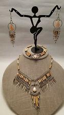 Parure Rose Quartz Bracelet Earrings Necklace Bamboo Chalcedony Silver Tone Set