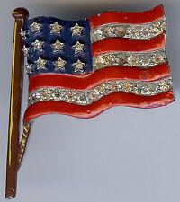 TRIFARI VINTAGE RED BLUE ENAMEL RHINESTONE AMERICAN FLAG PIN BROOCH