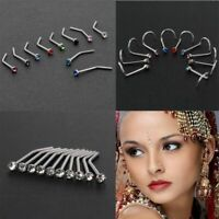 Steel Charming Thin Gem Crystal Screw Stud Body Piercing Nostril Hoop Nose Ring