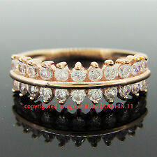 Genuine Solid 9k Rose Gold Crown Engagement Wedding Dress Ring Simulated Diamond