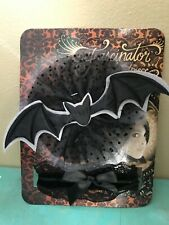Black Gothic Tulle Victorian BAT COSTUME KIT Fascinator Headpiece & Lace Collar