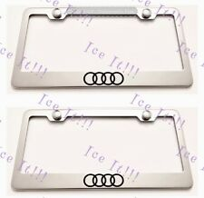 2X Audi Logo Stainless Steel License Plate Frame Rust Free W/ Caps