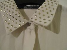 Pure Silk Zara Cream blouse size36, studded, with Skull buttons. Incredible!